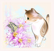 birthday card with  little tabby kitten, flowers and  butterfly