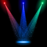 Three conical RGB shafts of light poster