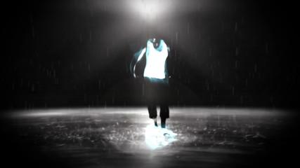 Young man break dancing