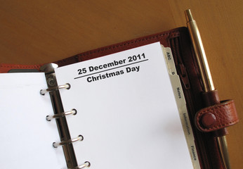 Christmas Day in a leather personal organiser