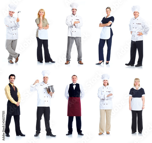 Waiter and chef workers group. Isolated on white background.