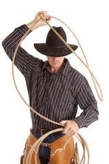 Cowboy with rope over head