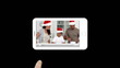 Smartphone showing families during Christmas