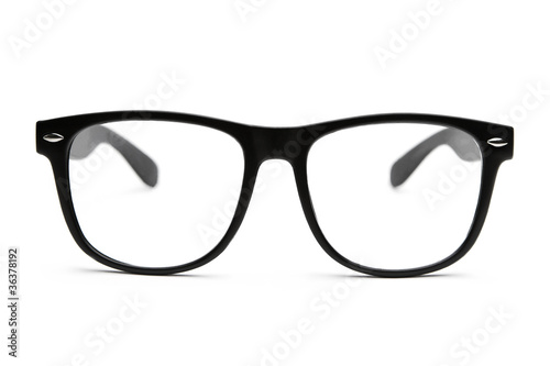 Black retro nerd glasses on white background