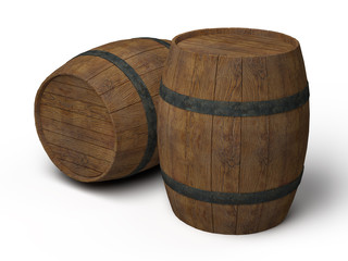 two old wooden barrels - 3d illustration isolated on white