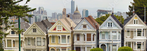 Fotobehang San Francisco Painted Ladies Row Houses by Alamo Square