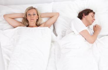 Couple lying