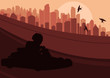 Go cart drivers race track and skyscraper city landscape