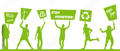 Green people protest, picket against pollution. Ecology world