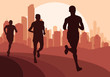 Marathon runners in skyscraper city landscape background