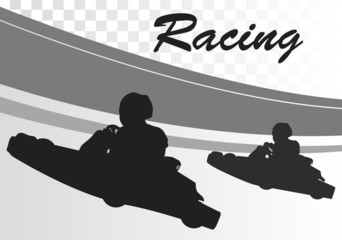 Go cart drivers race track landscape background illustration