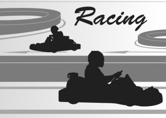 Go cart drivers race track landscape background illustration