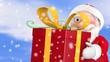 Weihnachtsmann trägt Geschenk im Schnee