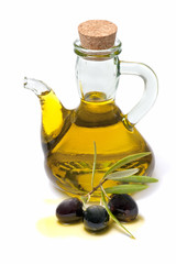 bottle of olive oil and fresh olives