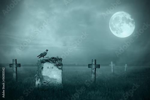 Fotobehang Begraafplaats Gravestones in moonlight