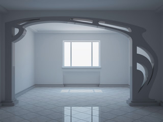 empty wide room with decorative partition - 3d illustration