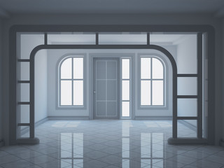 empty entrance hall with decorative partition - 3d illustration