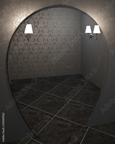 empty modern room with big mirror and lamps - 3d illustration