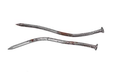 Big rusty iron nails, isolated on white background
