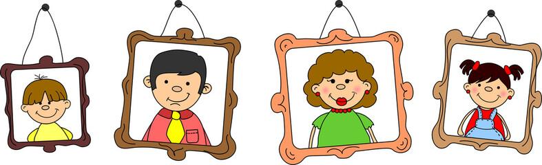 портреты членов семьи, мать, отец, дочь, сын