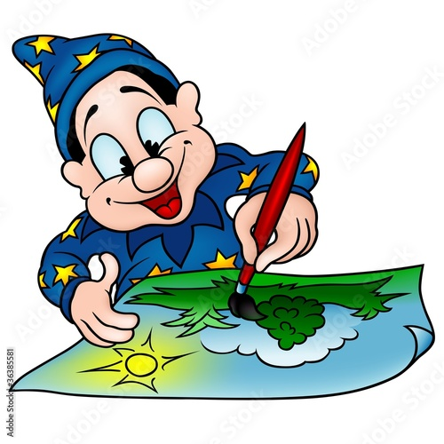 Wizard Painter - colored cartoon illustration