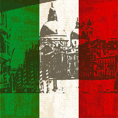 Italian Flag with view of  Grand Canal, Venice