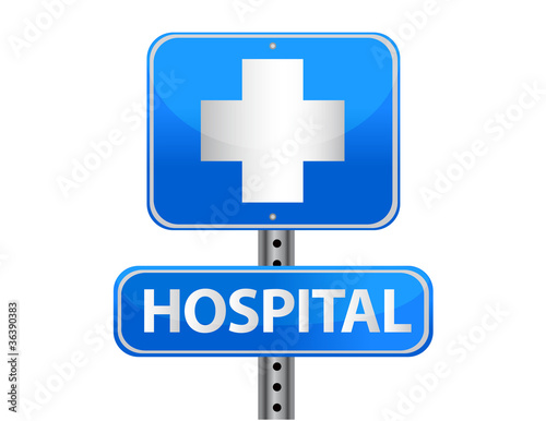 Hospital street sign on a white background