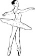 a sketch of girl's ballerina in tutu and pointe