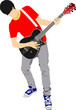 Guitar player isolated on the white background. Vector illustrat