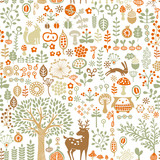 seamless background with autumn forest