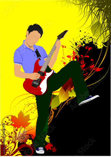 Guitar player on the autumn background. Vector illustration