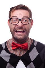 Happy geek laughing hysterically. Nerd series.