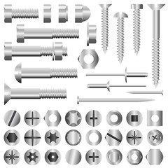 Vector set of nuts, bolts, screws and rivets