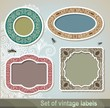 Set of vector vintage label and frame