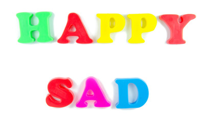 happy and sad written in fridge magnets