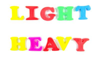 light and heavy written in fridge magnets