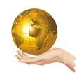 Globo Mondo Oro in Mano-Hand Holding a Golden Globe-Vector