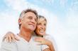 canvas print picture - Portrait of a happy romantic couple outdoors.
