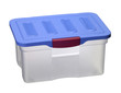 translucent plastic box with blue top
