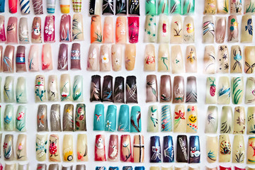 Acrylic fingernails on display
