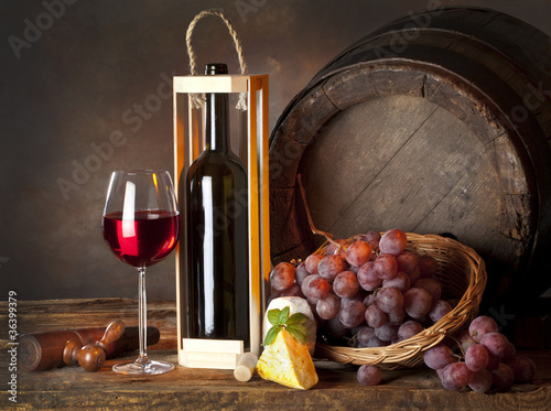still life with red wine