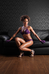 Sexy african american woman leather and lingerie
