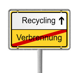 Ortsschild Recycling