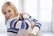 cute woman with wool sweater posing