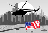 Helicopter with USA flag in skyscraper city landscape background