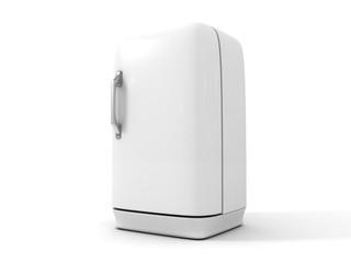 White retro refrigerator on white