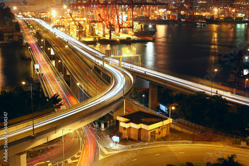 Overpass at night through the port