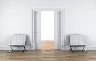 Interno con sedie al muro