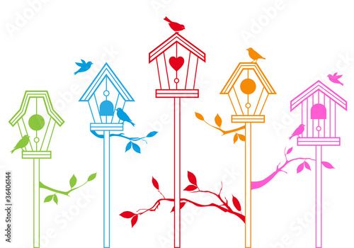 Foto op Aluminium Vogels in kooien cute bird houses, vector