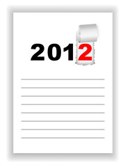 New Year's leaf notebook with the words 2012